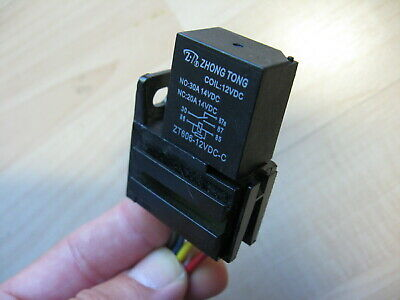 Sealed Automotive Mini Relay 12V 30Amps 5-Prong w/ Socket & Harness #E70D