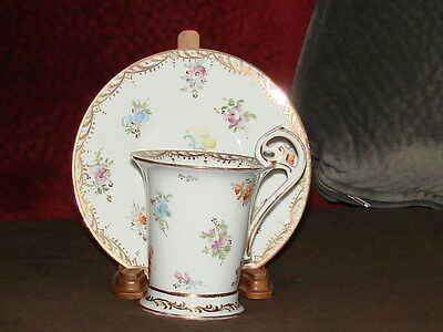 DRESDEN RICHARD KLEMM CABINET CUP AND SAUCER FLOWERS DECORATION. c 1883-1893