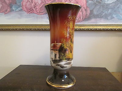 ANTIQUE  PORCELAIN SCENIC HAND PAINTED VASE PORTUGAL
