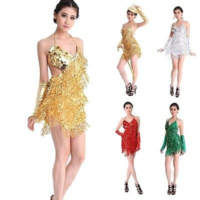 AU Lady Cocktail skirt Party Latin Ballroom Salsa Dance Sequin Fringe Club Dress