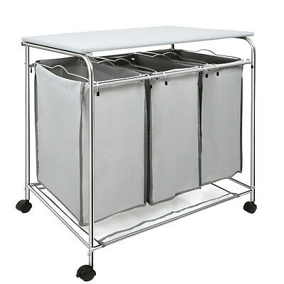 Laundry Cart Basket Trolley 3 Compartment Sorter Washing Clothes Storage Hamper