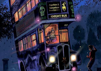 Harry Potter Movie The Knight Bus Animated Glossy Wall Art Poster (A1 -A5 Sizes)