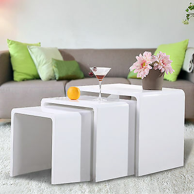 High Gloss 3 Side  Nested of Tables White Set Coffee Table Living Room Furniture