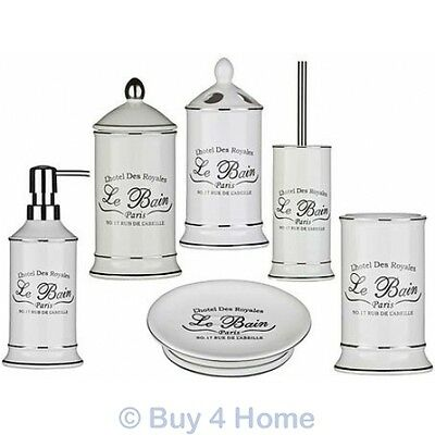 Le Bain Ceramic White Bathroom Accessories - Freestanding Vintage Storage Set