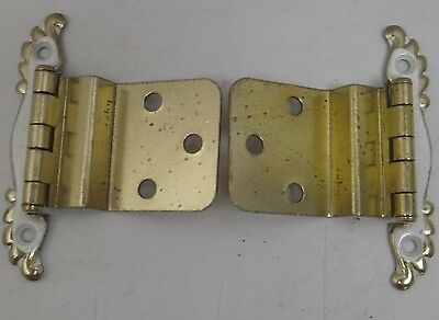 Nos Vintage [10] Pair Cabinet Hinge Hardware Brass With White Offset Md Kitchen