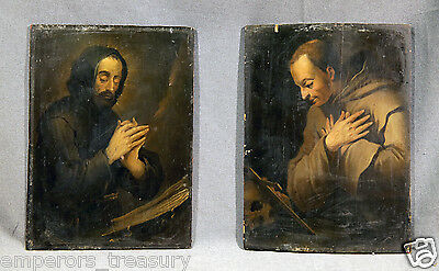 Pair of European Old Master Religious Oil Paintings Depicting Priests Praying