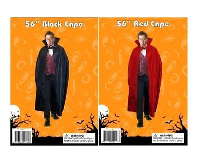 Adult Count Dracula Vampire Cloak Red Or Black 56 Halloween Fancy Dress Up""