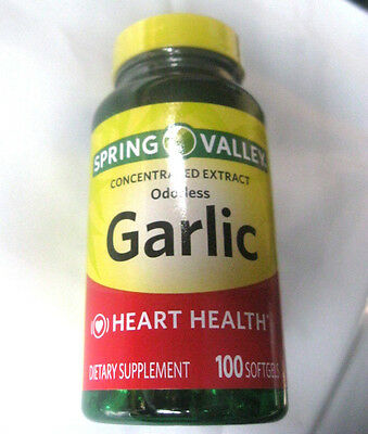 Spring Valley Odorless Garlic Extract Softgels Pills, 1000mg 100 count