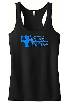 Girls Lift Too Racerback Tank Top Gym Workout Motivation Crossfit Weight Fitness