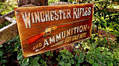 Winchester Rifles Ammunition Tin Metal Sign Guns Ammo Hunting Rustic Collectible