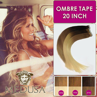 "Medusa Ombre Balayage Tape Remy Human Hair Extensions Dip Dye 20"" 40pc & 20pc"