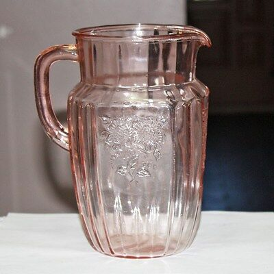 Hocking Pink Mayfair Open Rose  80 Ounce Pitcher Depression Glass
