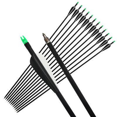 12Pcs Archery Bow Hunter Nocks Fletched Fiberglass Arrow 33'' Compound