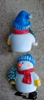 3 Inch Working Snowman with Christmas Tree WInd Up-NOT vintage