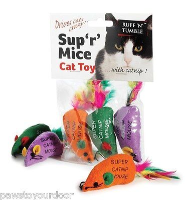 Catnip mouse cat toy pack 3 mice feather toys sharples'n'grant  ruff 'n'tumble