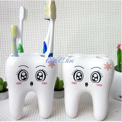1Pc Bathroom Cute 4 Holes Tooth Style Toothbrush Holder Bracket New LH
