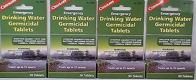 4 Packs Of Water Purification Tablets-Drinkable Water In 30 Minutes! 50 Tabs/ea