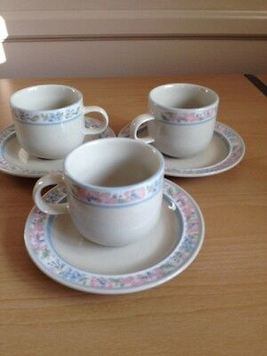 Tienshan Calais Stoneware Set of 3 Cups And Saucers Flowers Pink Blue Green