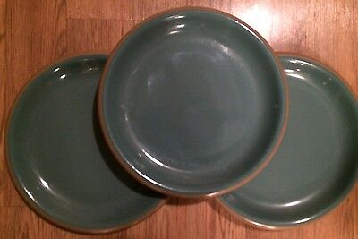 """Set of 3 Franciscan Ware VENTURA Teal w/Tan Edge 11"""" Dinner Plates Dishes"""