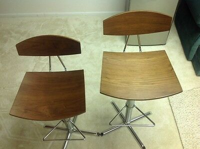 Two Bamboo bar stools with chrome base