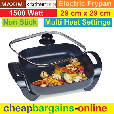 Maxim Family Electric Frypan Cooking Pan Non Stick Surface Multi Temp Settings