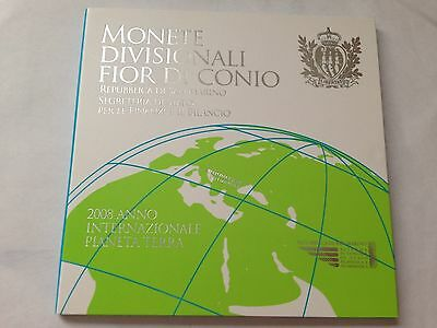 2008 san marino bu set 9 euro coins with 5 euro silver year earth uncirculated