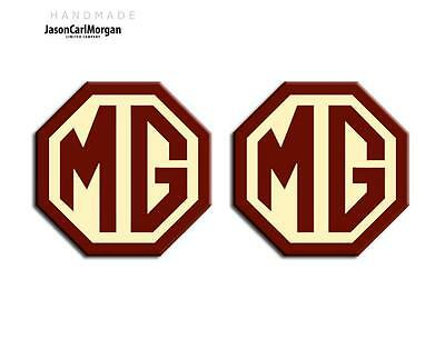 MG TF LE500 70mm Badge Insert Set Front Grill Rear Boot MG Logo Burgundy & Cream