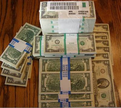 """1  BUNDLE USA -$ 2 x 100 UNCIRCULATED  NOTES CURRENCY """"USA LEGAL 2 DOLLAR NOTES"""