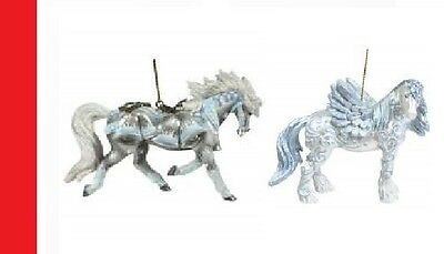 Horse of a Different Color - Set of 2 Ornaments Silver Bells & Christmas Angel .