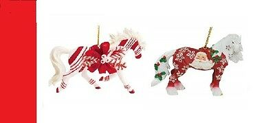 Horse of a Different Color - Set of 2 Ornaments Candy Cane & Santa Clause.