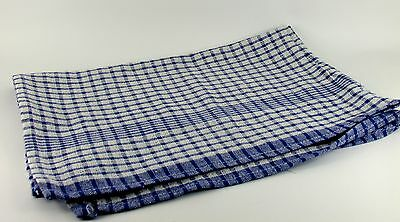 50 x Wonderdry Blue Checked Tea Towels 100% cotton Catering Kitchen Cleaning
