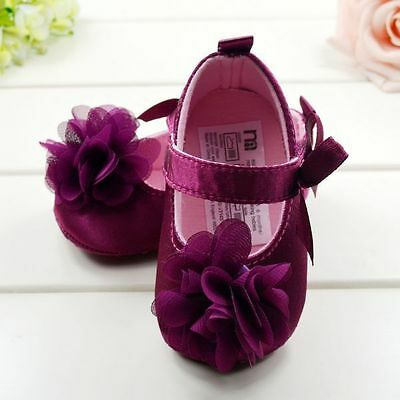 Newborn Baby Shoes Kids Girl Bow Flower Soft Sole Princess Shoes Prewalker 3-12M