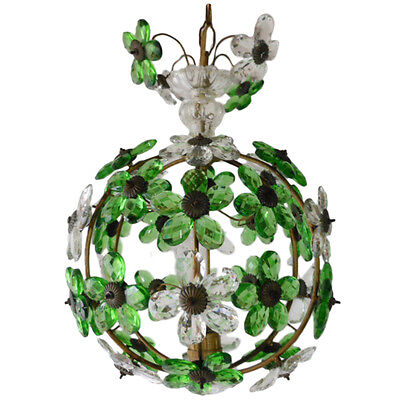 Vintage Green Crystal Daisy Candelier.antique Ceiling Lighting
