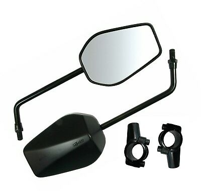 New Pair Of Universal Mobility Scooter Black Mirrors 10Mm Thread & H/bar Clamps