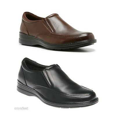 Mens HUSH PUPPIES Transit Black Brown EXTRA WIDE DRESS/WORK/CASUAL/LEATHER SHOES