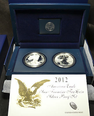 #3113 - 2012 S - US Mint American Eagle Two Coin Silver Proof Set - COA