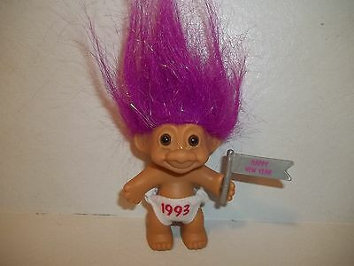 """Troll Doll - 3"""" Russ Happy New Year 1993 with Sparkling Purple Hair"""