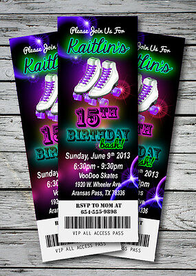 Roller Skating GLOW NEON Birthday Party Invitation TICKET Stub Skates GIRL PINK