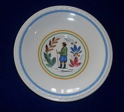 Taylor Smith Premier 1572 Small Saucer Plate Textured Rim Multicolor Line Hunter