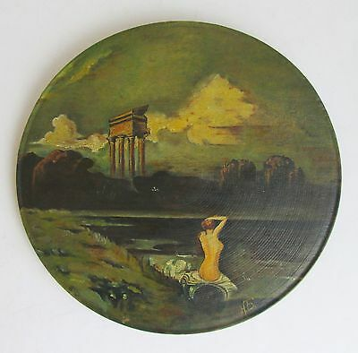 Antique Oil Painting Nude Girl On Coast Waterscape Wooden Wall Hanging Plate