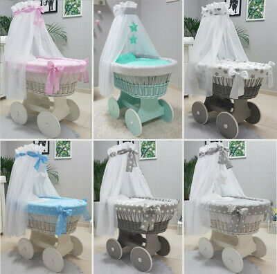 Tolo Wicker Moses Basket + Stand + Big Wooden Wheels + Bedding + Drape 12 Colour