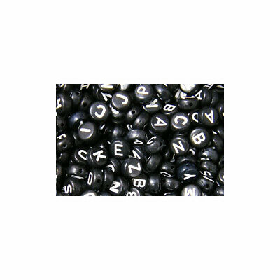 100 x 7x4mm Black Round Acrylic letter single beads 1mm hole Alphabet loose A-Z
