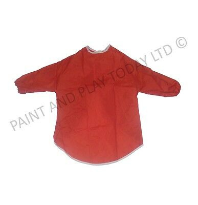 Pack of 5 Childrens Kids Aprons Smock Painting Art Craft - Red - Age 5-7 Years