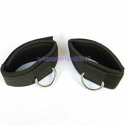 2×Ankle Strap D-ring Gym Cable Attachment Fitness Weight Lifting Free Shipping