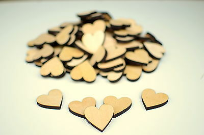 Lot of 200 Laser Cut Wooden MDF Crafting Hearts 1.5x1.5(3.81x3.81cm)Scrapbooking