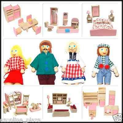 Wooden Doll House Furniture Miniature 6 Rooms Set & 4 Persons