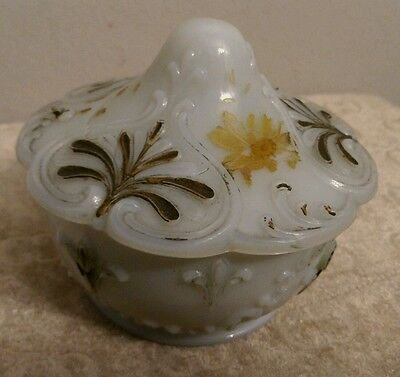 VICTORIAN OPALESCENT MILK GLASS POWDER JAR/ TRINKET BOX STILL HAS SOME PAINT!