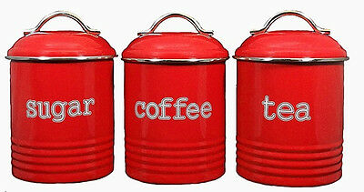 Red Set Of 3 Tea Coffee And Sugar Cannisters - New Modern Retro Kitchen Decor