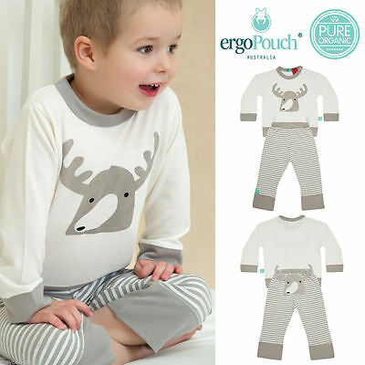 ergoPouch Bamboo Pyjamas Spring/Autumn, Moose Grey, Size 6-12m LAST ONE