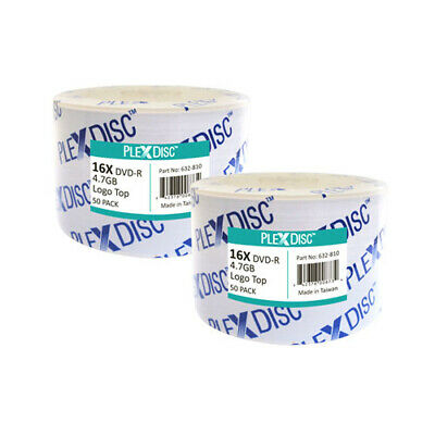 100 PC PlexDisc 16X 4.7 GB DVD-R Logo Top Disc Blank Media 632-810